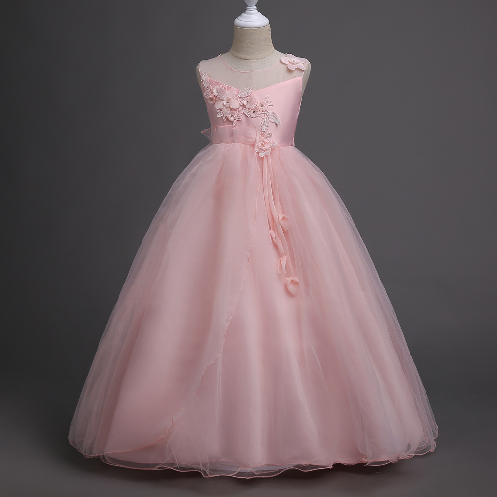 Children Princess Clothes White Grey Lavender Pink Dresses Kids 5 6 7 8 9 10 11 12 13 Years Long-party-dress Girls Wedding Gowns