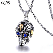 OQEPJ Blue Rhinestone Eyes Skeleton Skull Necklace Pendant 316L Stainless Steel Silver Color High Quality Necklaces Men Jewelry