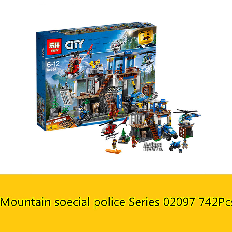 CX 02097 742Pcs Model building kits Compatible with Lego 60174 City Series The Mountain Police Headquater 3D Bricks figure toys