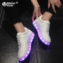 Размеры 30–43 граффити светящиеся кроссовки с легкой подошвы для мальчиков  белый USB обувь Детские b28818f6abb0b