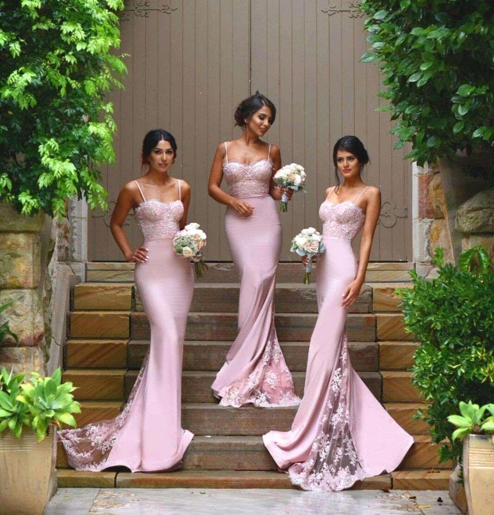 Spaghetti Straps Mermaid Trumpet   Bridesmaid     Dresses   2019 Vintage Lace Train Fitted Country Maid of Honor Gown