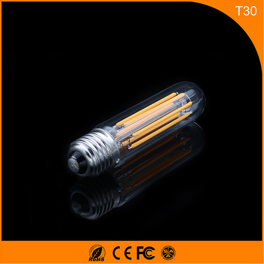 50PCS 6W E27 B22 Led Bulb, T30 LED COB Vintage Edison Light ,Filament Light Retro Bulb AC 220V 50pcs 2w e27 b22 led bulb t38 led cob vintage edison light filament light retro bulb ac 220v