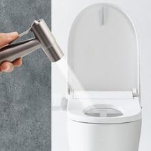 1Set Handheld Toilet Bidet Spray Gun Kit Stainless Steel Hand Bidet Faucet WC Bathroom Hand Sprayer Shower Head Self Cleaner phasat a2021 copper handheld bidet spray gun shower head silver