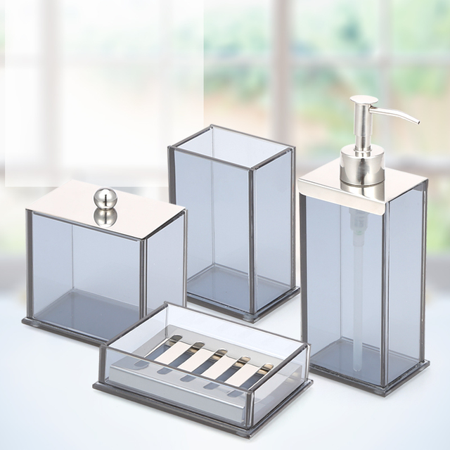 ANHO Crystal Glass Bathroom Set European Style Bathroom Accessories Lotion  Bottle Resin Cup Soap Dish Cotton