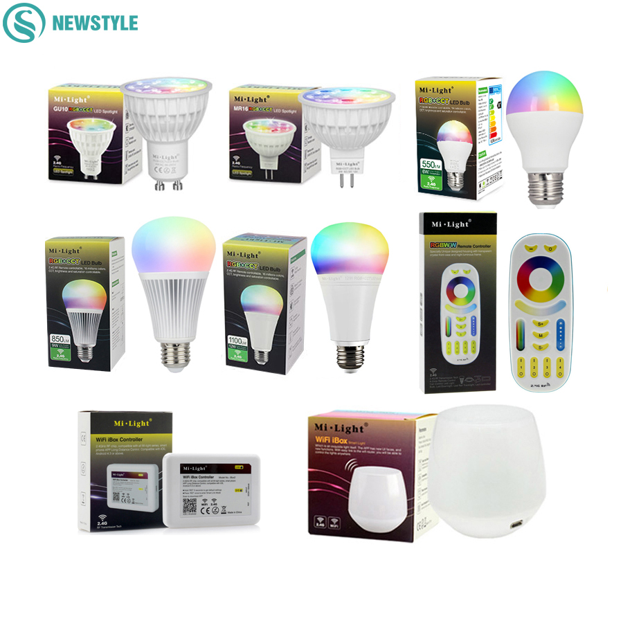 Mi Light RGBCCT Dimmable led Bulb 4W MR16 GU10 6W 9W 12W E27 led Lamps Wireless Wifi Controller Box 2.4G RF Remote Controller led bulb e27 60 260v 6w led light bulbs led smart bulb lamp dimmable remote control wifi controller box for iphone android ios