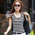 Новый летний черно-белый полосатый Футболка хлопка с коротким рукавом Футболки женская мода швейная фабрика оптовая