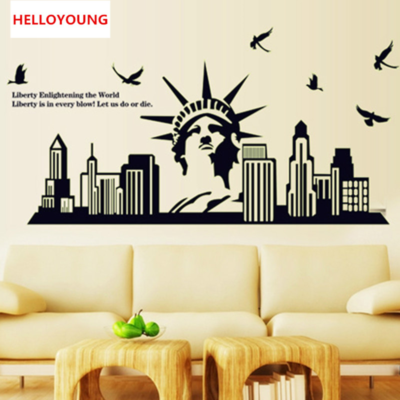 QT 0031 DIY Wall Sticker The Statue Of Liberty All Match Style Luminous  Wallpapers