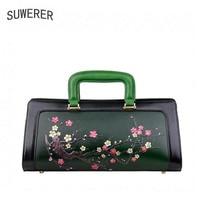 2019 New women bag genuine leather brands quality cowhide Hand painted plum blossom fashion women handbags shoulder big bag