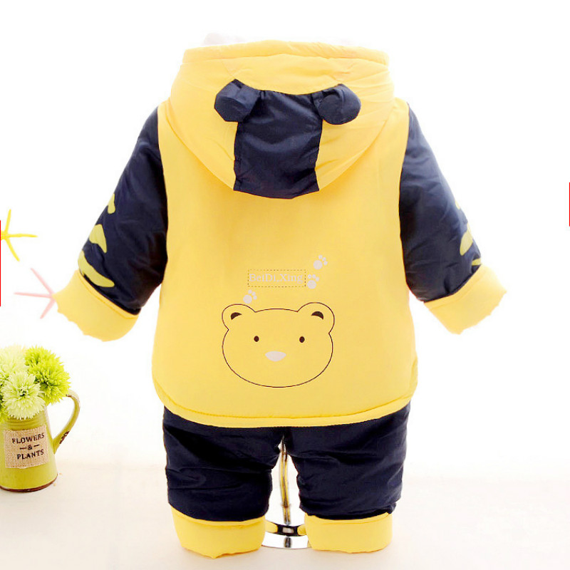 2017 Dropshipping Baby Boys Bear Down Clothing Sets Winter Coats Jacket Pants Warm 2 pcs Thick Outwear Red Blue Yellow For 2 3 4 casual 2016 winter jacket for boys warm jackets coats outerwears thick hooded down cotton jackets for children boy winter parkas
