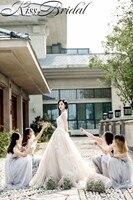 Великолепная Свадебные платья А Сексуальная спинки Тюль Свадебные платья Милая декольте Часовня Поезд Vestido De Noiva