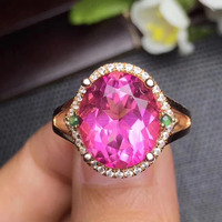 Gems Size 910 12mm Fine Jewelry 925 Sterling Silver Natural Pink Topaz Ring Promise Rings Womens