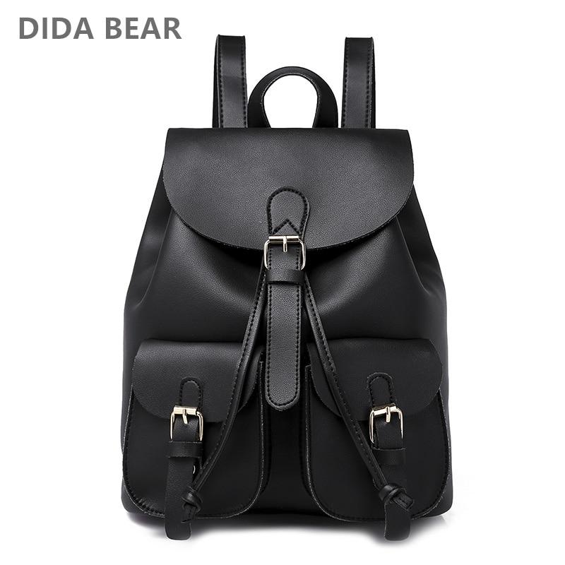 d25abae51b Detail Feedback Questions about 2018 New Women Leather Backpack Black Bolsas  Mochila Feminina Large School backpacks for teenage girls Lady Travel Bag  on ...