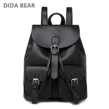 2018 New Women Leather Backpack Black Bolsas Mochila Feminina Large School backpacks for teenage girls Lady Travel Bag
