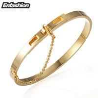 Enfashion Safety Chain Cuff Bracelet Noeud Armband Gold Plated Bangle Bracelet For Women Bracelets Manchette Bangles