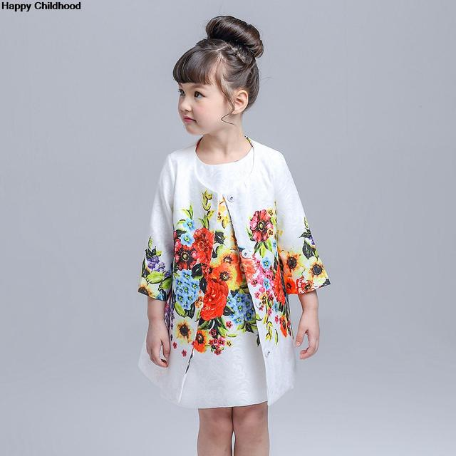 2016 Spring/Summer Flower/Butterfly Girls Clothes 1pc children clothing 2-8Y kids clothes Jacquard coat+A-Line girls dresses