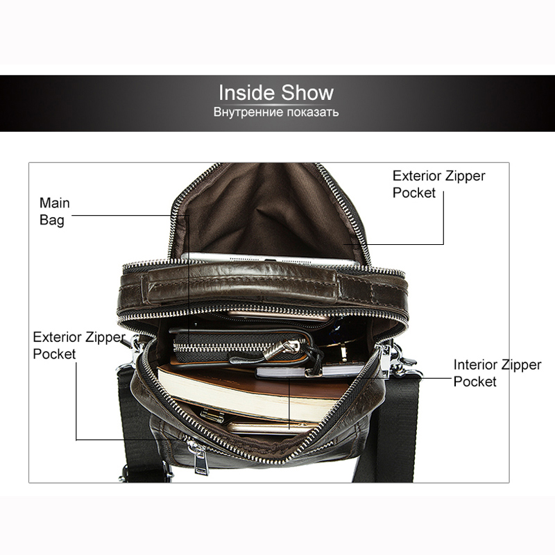 venda bolsa de couro Color : Solid Mens Leather Shoulder Bag