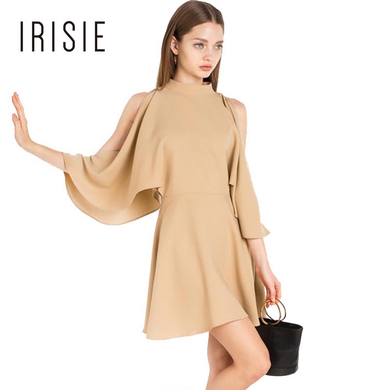 IRISIE Apparel Khaki Cold Shoulder Female Vestido Batwing Sls