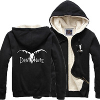 Winter Thick Coat Cosplay Printing Death Note Winter Warm Jacket Coat Thick Men Hoodies Student Coat