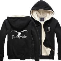 Winter Thick Coat Cosplay Printing Death Note Winter Warm Jacket Coat Thick Men Hoodies Student Coat