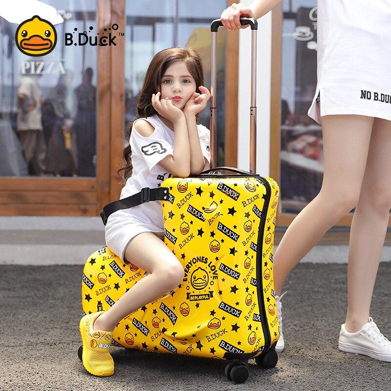 Enfants cheval forme bagages boîtier de chariot mignon roue universelle en bois belle intéressante Ins Fanny enfants valise de voyage qualité
