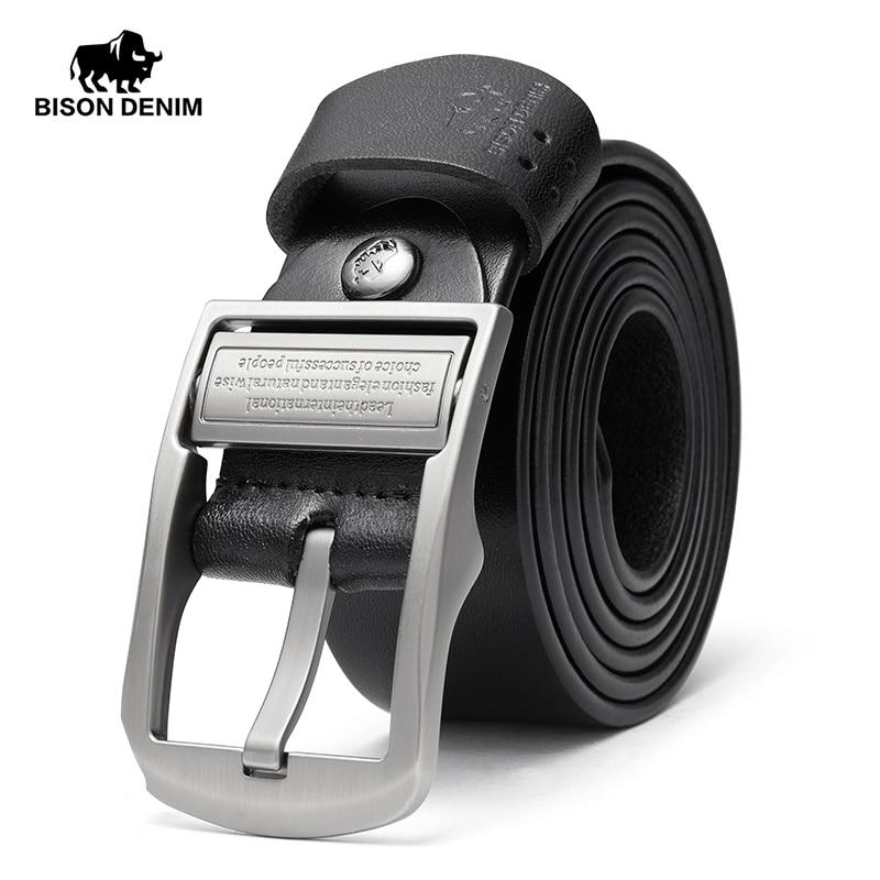 BISON DENIM Cinturón de cuero genuino para hombres Cinturones de piel masculina Cinturón de hebilla de buena calidad 3.8 cm ancho hombres cinturones N70780