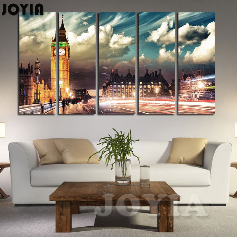 Home Painting Wall Art London City Light Landscape Decorative Pictures 5 Panel Big Ben Sky Clouds Canvas Decorations No Frame