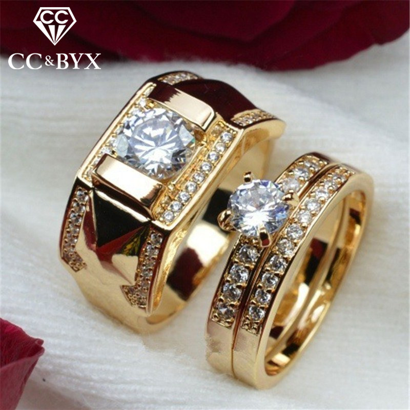 CC Rings For Women And Men Fashion Lovers' Set Ring Cubic Zirconia Yellow Gold Color Wedding Engagement Accessories CC2095