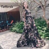 2018 New Black Bohemian Style Vintage Elegant Casual Gauze Embroidery Mesh Long Party Dress Female Fairy