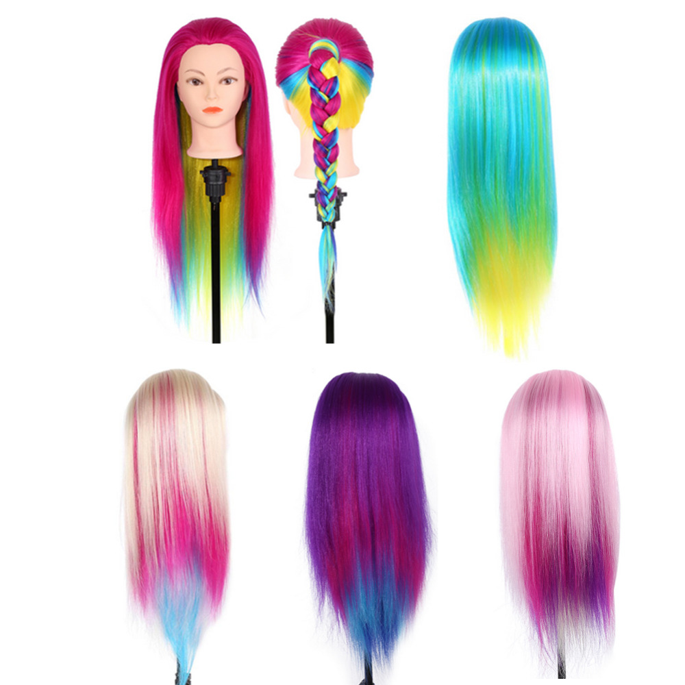 Styling Tools Careful 26 Inch Colorful Hairdressing Training Head Model Rainbow Synthetic Fiber Mannequin Hairdresser Training Head With Clamp Stand To Win A High Admiration And Is Widely Trusted At Home And Abroad.