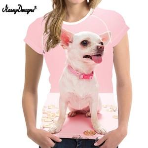 Image 5 - NOISYDESIGNS T Shirt Women 3D Chihuahua Printing T shirt Teenagers Kawaii Dog Pattern Tee Shirt for Females Fitness Clothing Tee