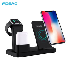 FDGAO 3 in 1 Wireless Charging Station For iPhone X Xs Max XR 8 Plus For Apple Watch Airpods Qi 10W Fast Charging Dock Stand fdgao 3 in 1 charging dock station stand for airpods apple watch 10w fast qi wireless charger for iphone x xs max xr 8 7 6 plus