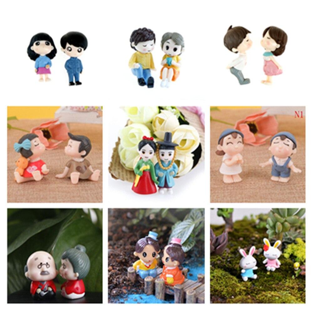 1/2個人気の恋人置物結婚式の人形ミニチュアカップルモデル妖精の庭の家の装飾のおもちゃdiyアクセサリー|フィギュア & ミニチュア|   -