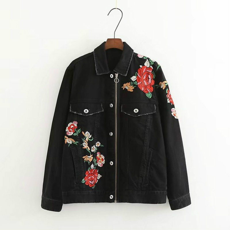 2019 Spring New Women Jean Embroidered   Jacket   Black Denim Bomber   Jacket   Plus Size   Basic     Jacket   Top z546