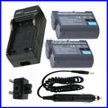 Bateria (2 pacote) + carregador para nikon en-el15, enel15 e nikon 1 v1, D600, D610, D800, D800E, D810, D7000, D7100 SLR Digital Camera