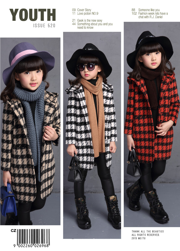 ФОТО 2016 new children's clothing girls long section thick woolen coat quilted coat female children fall and winter clothes tide