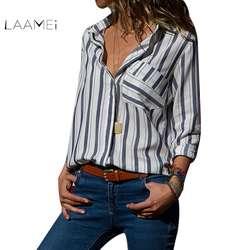 LAAMEI осень Для женщин работы рубашки Повседневное карман Полосатый Офис футболка дамы свободные длинным рукавом блуза Топ Blusas 2018