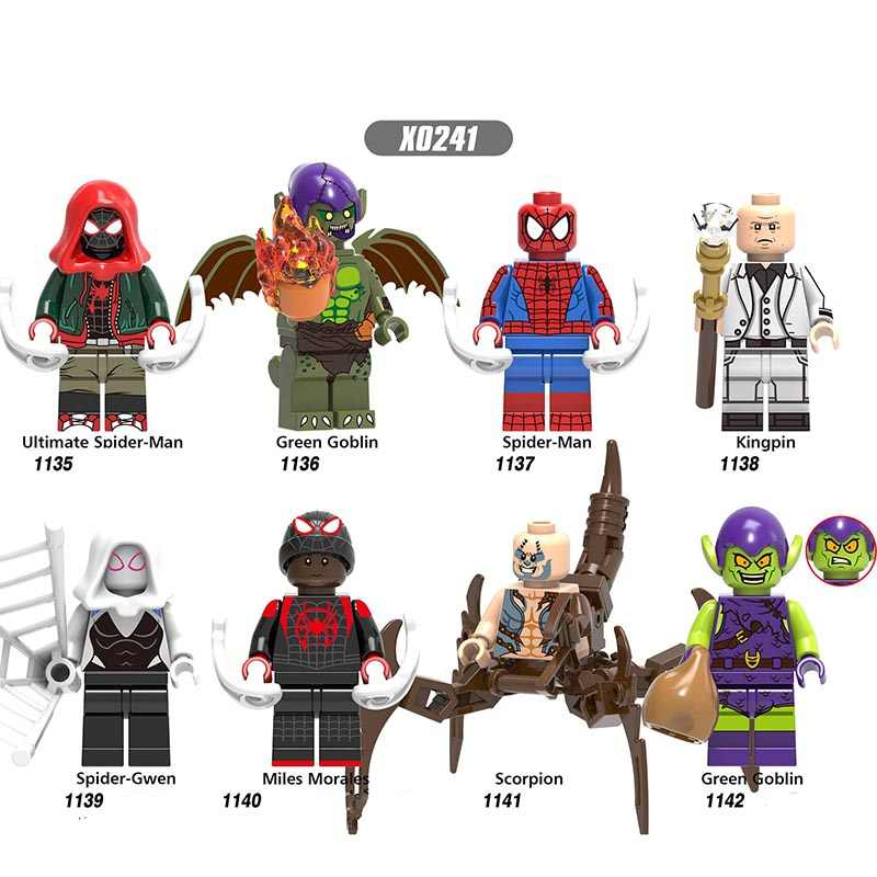 Single Sale LegoINGlys Super Heroes Figures Spider-Man  Spider-Verse Gwen Miles Scorpion Building  Bricks  Toys Children X0241
