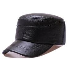 427f66b8 Black Brown Genuine Leather Military Hat Women Army Cap Ladies Baker Boy Hat  Spring Autumn Duckbill
