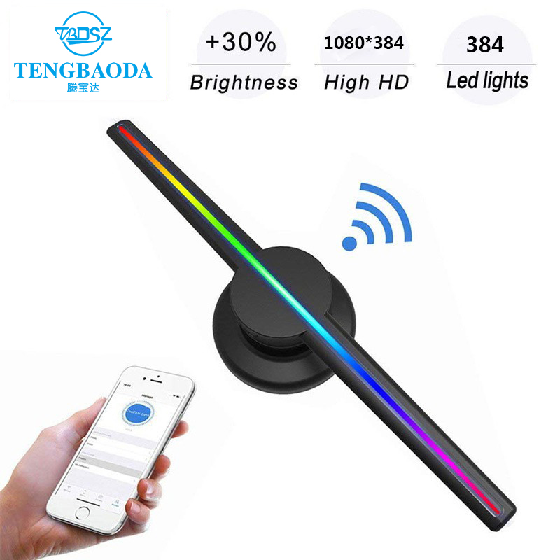 Portable 3D Holographic Projector Display Fan Hologram LED Advertising MachineUK