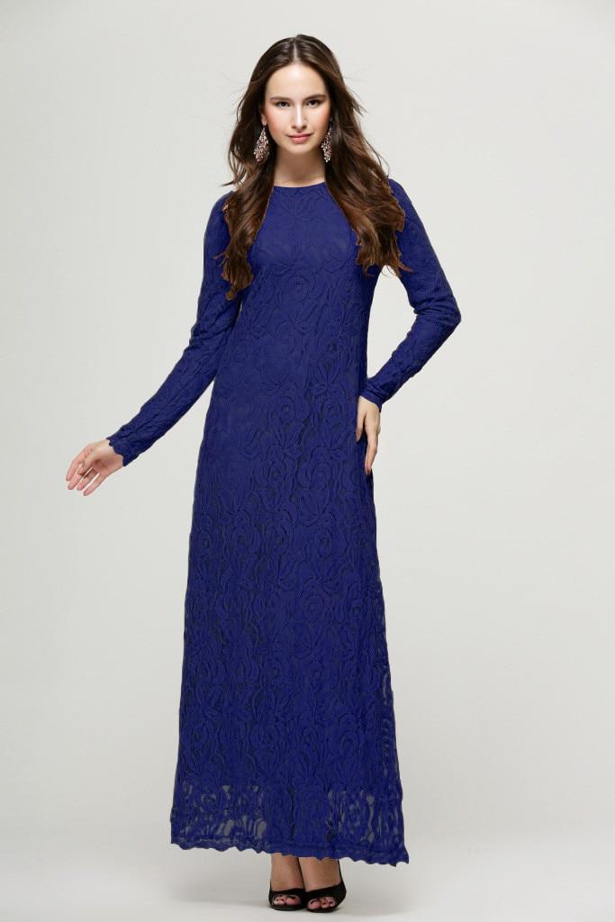2019 Abaya Cardigan lace Velvet Muslim Hijab Dress Lady Slimming Long Dress Lace Dress Double Layer Casual Long Dress_3.30