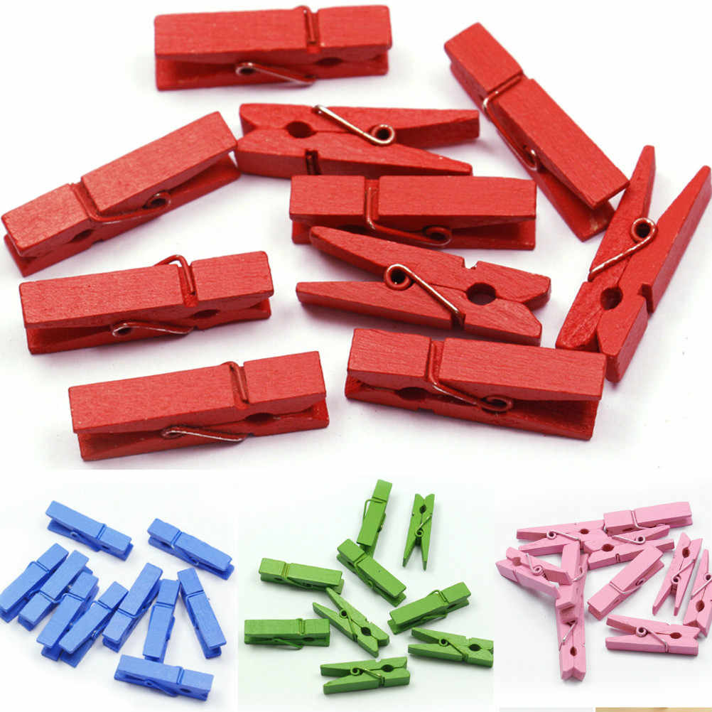 20PCS Small Mine Size 35mm Mini Natural Wooden Clips For Photo Clips Clothespin Craft Decoration Clips Pegs Wholesale