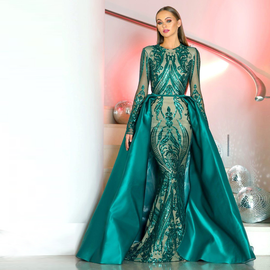 Prom-Dress Detachable-Skirt Evening-Gowns Long-Sleeve Emerald Green 2pieces-Gown Arabia title=