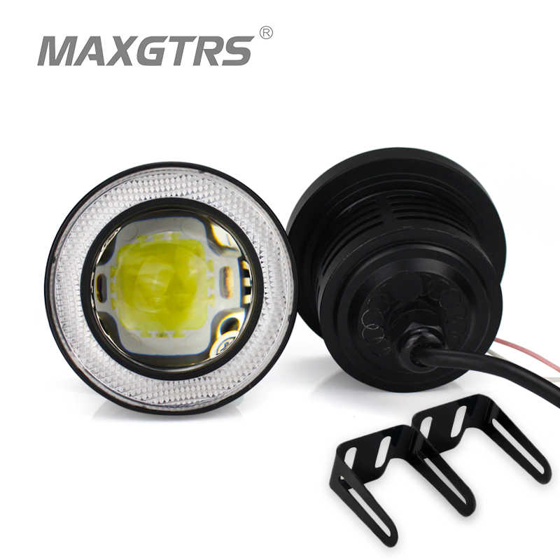 2x 12V 20W 64/76/89mm 2.5/3/3.5Inch Universal Super Bright Car LED COB Fog Angel Eyes DRL Light HeadLight Lamp White/Red/Blue