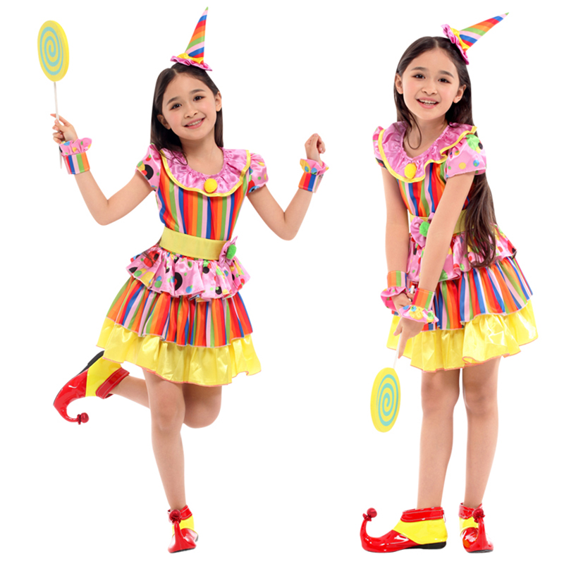 Free shipping New Christmas Halloween Cosplay Costumes For Girls Circus Clown Naughty Harlequin Fancy Fantasia Infantil clothing