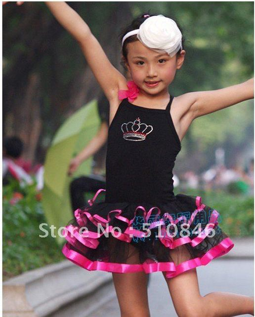 Free Shopping New Girls Black Party Leotard Ballet Tutu Skirt Dance Wear SZ 4