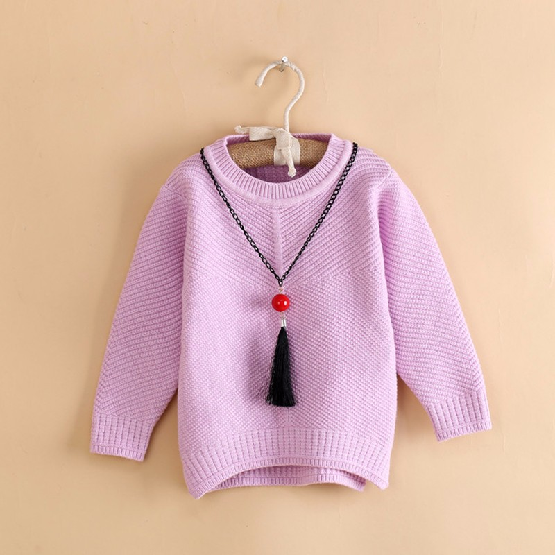 Cotton Girls Sweaters Solid O Neck Top Long Sleeve Clothes Pullover Knit Outerwear Autumn Winter Kids Sweater Children Clothing (4)