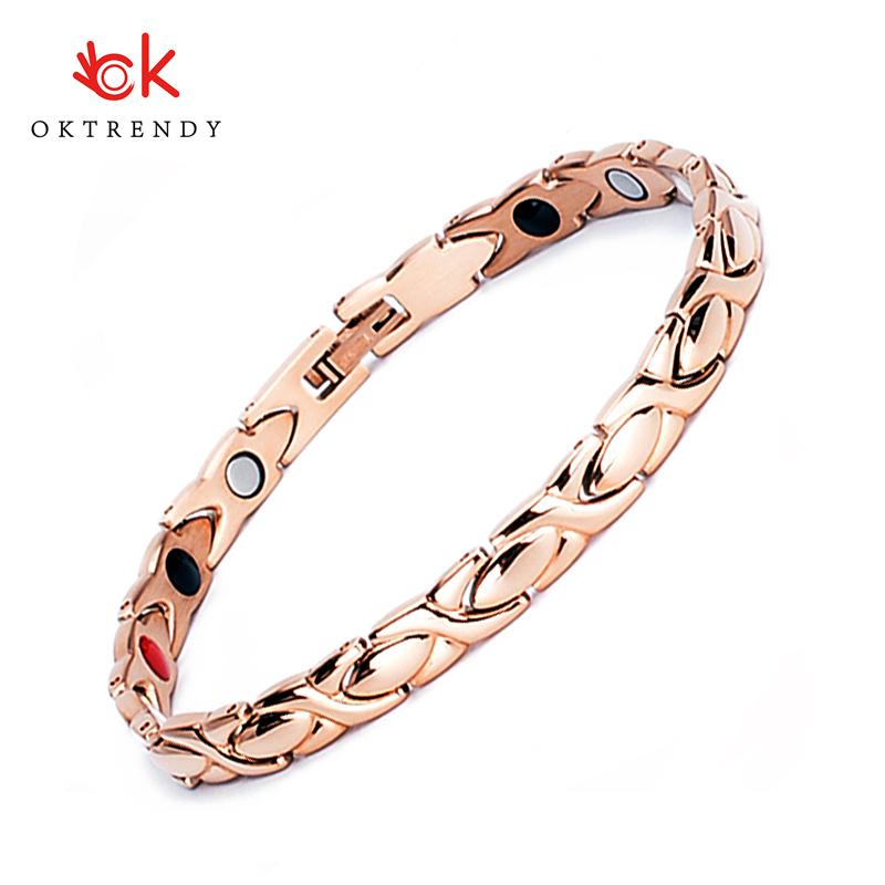 Oktrendy Magnetic Ladies Bracelets Jewellery Stainless Steel Bracelet For Women Rose Gold Color Tennis Dropshipping