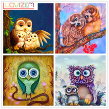 Diamond Embroidered Owl Cross Stitch 5D Diy Mosaic Rhinestone Christmas Gift L802