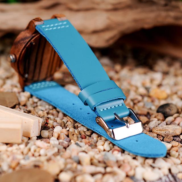 Couple Watch BOBO BIRD Zebra Wooden Genuine Leather Strap Quartz Watches Simple Blue Dial With Environmental Gift Box 2