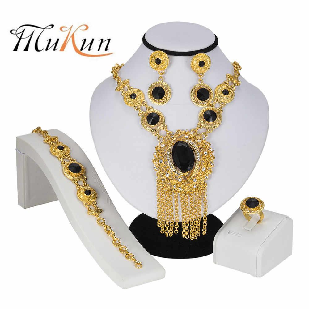 MUKUN Дубай сердце Ювелирный Набор Кристалл кисточкой Золотой Цвет Нигерийский свадебное платье в африканском стиле бусины ювелирные изделия женские ювелирные украшения